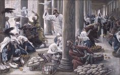 """Then Jesus entered the temple area and proceeded to drive out those who were selling things,saying to them,""""It is written,'My house shall be a house of prayer,but you have made it a den of thieves.'"""" Luke 19:45-46 // The Merchants Chased from the Temple // 1886-1896 // James Tissot // Brooklyn Museum // #Jesus #Christ"""
