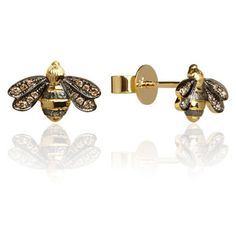18ct yellow gold and silver diamond Bee stud earrings from the Love Diamonds collection.