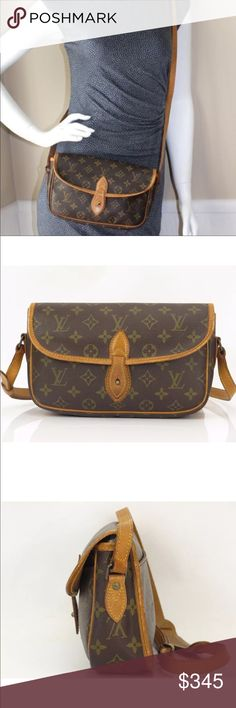 """Authentic Louis Vuitton Gibeciere PM Crossbody This is your chance to get this versatile and adorable Louis Vuitton Vintage Monogram Canvas Gibeciere PM Bag. It features a rounded rectangular shape and has a versatile adjustable shoulder strap that can be worn on the shoulder or cross-body for hands-free convenience. This vintage bag is perfect for every day use with its comfortable shoulder pad and rear slot pocket. 10"""" by 6.5"""". Hardware tarnished, leather aging, small tear on piping edge…"""