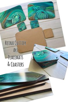 Beautiful Placemats & Coasters by Reina Cottier Art. Seabed/ ocean themed with Paua (Abalone) , Kina (Sea Urchin) with soothing ocean colours blues/ greens & turquoises. To BUY GO HERE: https://reinacottiershop.com/collections/all/placemats