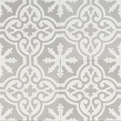 Grey Moroccan Bazaar Tile by Jatana Interiors. A light grey tile with a decorative pattern in white that brings life to the tile. Grey Moroccan Bazaar, for any interior. Bathroom Floor Tiles, Kitchen Tiles, Kitchen Flooring, Grey Flooring, Garage Flooring, Parquet Flooring, Floor Tiles Hallway, Penny Flooring, Vinyl Flooring Bathroom