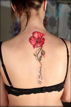 Flower tattoo on back new school by Regina Pochanina Tattoo flower tattoos - small fl Forearm Flower Tattoo, Flower Tattoo Back, Flower Tattoo Designs, 3d Flower Tattoos, Tattoo Ideas Flower, Flower Tattoo Meanings, Smal Tattoo, Tattoo On, Tattoo Photos