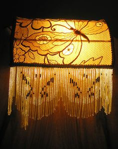 761 set four antique fringed glass bead lamp shades victorian style victorian style yellow gold glass beaded fringe headboard bed lamp vintage lace ebay aloadofball Gallery