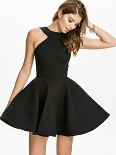 Simple black skater dress. Perfect for new year's eve