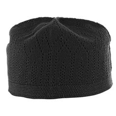 526365df7d0 Black Cotton Muslim Prayer Mens Skull Cap Crotchet Kufi Topi Made in Turkey  Only  2.99!