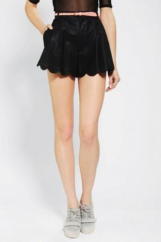 MINKPINK Scalloped Sports Luxe Vegan Leather Short