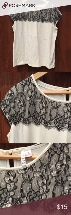 Lace overlay top. ELLE black lace overlay white top. Elle Tops
