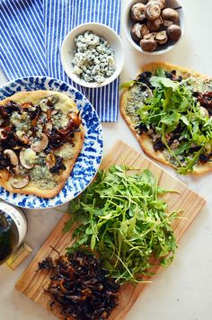 Mushroom, Caramelized Onion and Blue Cheese Flatbreads #recipes