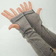 Arm Warmers in Taupe Grey Brown Merino Recycled Wool by mirabeans