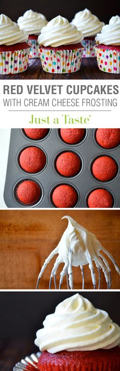 Red Velvet Cupcakes with Piped Cream Cheese Frosting #recipe on justataste.com