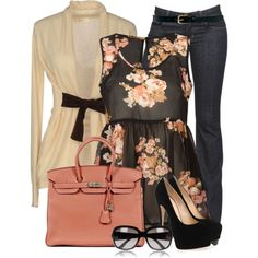 """""""Floral Top"""" by jaycee0220 on Polyvore"""