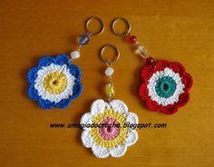 chaveiro flor de croche - Pesquisa Google