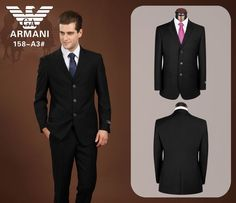 Armani Three Buttons Suit Black 10