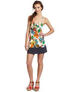Amazon.com: Roxy Juniors Easy Going Halter Dress, Green Print, X-Large: Clothing