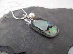 Aqua Sea Glass Necklace Abalone Sea Shell Jewelry Blue Beach Sterling Sea Glass Ring, Sea Glass Necklace, Glass Earrings, Sea Glass Jewelry, Pendant Earrings, Sea Glass Decor, Seashell Jewelry, Blue Beach, Jewelry Sets