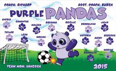 Pandas-Purples-45028  digitally printed vinyl soccer sports team banner. Made in the USA and shipped fast by BannersUSA. www.bannersusa.com