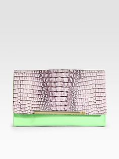 Diane von Furstenberg  Adele Croc-Embossed Leather & Patent Leather Clutch