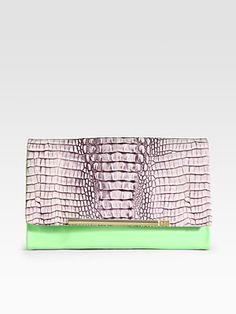 Diane von Furstenberg  Adele Croc-Embossed Leather & Patent Leather Clutch