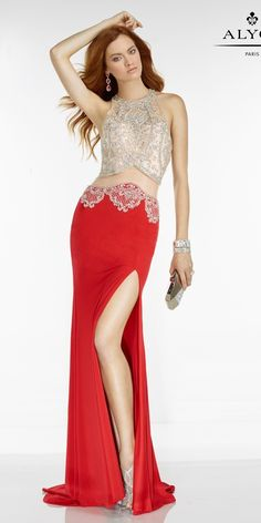 Sexy Long Evening Gown. Colors: Red/Nude, Black/Nude. Size: 00-12