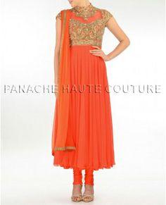 Dark orange color long anarkali visit http://panachehautecouture.co.in/ for more collection