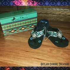 Montana West flip flops by Outlaw Cowgirl Creations