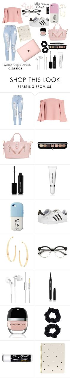 """""""Wardrobe Staples: Pink"""" by wckdesigns ❤ liked on Polyvore featuring Topshop, Kenzo, Marc Jacobs, adidas, Lana, Accessorize, Chapstick, Sugar Paper and Valfré"""