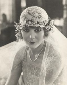 Virginia Browne wearing a gorgeous lace wedding cap, 1920s.