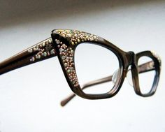 Vintage 50's SQUARE CAT EYE Rhinestone Eyeglass Frames