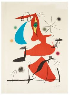 "Joan Miró Spain 1893-1983 Untitled, from: ""Oda a Joan Miró"". (d)  Litograph in colours, 1973, on Guarro paper, signed in pencil and numbered XIX/XXV, printed and published by La Polígrafa, Barcelona. L. 79,5 x 61 cm. S. 104 x 76,7"