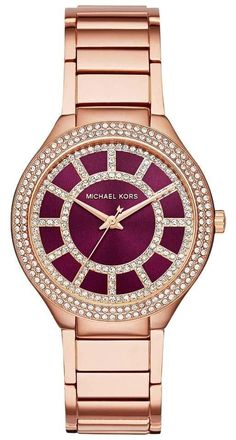 NWT Michael Kors Ladies Michael Kors Womens Kerry Rose Red Maroon Gold-Tone Stainless Steel Bracelet Watch 37mm MK3434. Free shipping and guaranteed authenticity on NWT Michael Kors Ladies Michael Kors Womens Kerry Rose Red Maroon Gold-Tone Stainless