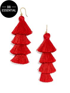 Shimmy all night long in these playful, of-the-moment statement earrings. We think they look great with curls and a floor-sweeping skirt. Handle With Care Instructions: We recommend storing on a jewelry stand to avoid threads bending. Wrap tassels for travel to keep their shape.
