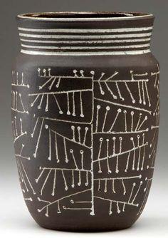 F. Carlton Ball and Aaron Bohrod; Glazed Stoneware Vessel, c1950.