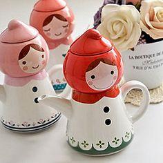 Presente de aniversário Peach Tea for One Little Red Riding Hood Porcelain Doll Bule Tea Set Cup – BRL R$ 87,59