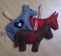 Craft felt donkeys