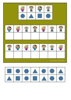Board and tiles for the family visual perception game. By Autismespektrum Printable Preschool Worksheets, Kindergarten Math Worksheets, Preschool Learning Activities, Brain Activities, Kids Learning, Math For Kids, Lessons For Kids, Teaching Child To Read, Teaching Shapes