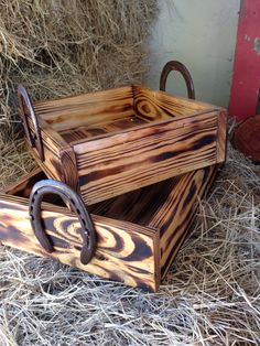 Horse Office or Bedroom --- You can get an unstained wood box similar to this at craft stores like AC Moore and Micheals... Stain or paint it to work with your office or room (or, leave as is) and add horseshoes as handles.