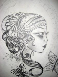 Gypsy woman tattoo outline