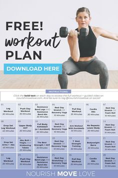 Download your complete, 4-Week Workout Plan for Women here! It's 100% FREE and comes with daily guided workout videos on Youtube! This plan focuses on full body STRENGTH training to build lean muscle at home! Create a consistent fitness routine you actually look forward to! 4 Week Workout Plan, Full Body Workout Plan, Workout Plan For Women, Push Day, Yoga Sculpt, Arms And Abs, Plyometrics, High Intensity Interval Training, Build Muscle