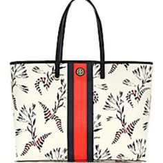 Tory Burch - Kerrington Striped Floral Tote - Saks Fifth Avenue Mobile