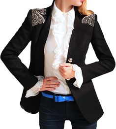 BEADED SHOULDER BLAZER - BLACK – The Style Mob
