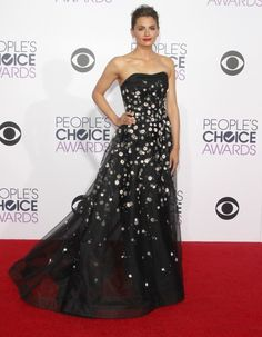 Stana Katic in Carolina Herrera [I'm not 100% behind the hair, but the rest is dreamy]