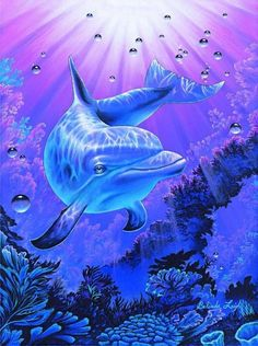 2017 New Hot Sale Paintings Animal diy diamond painting cross stitch dolphin icons Round Resin Diamond Embroidery Kit Printed Dolphin Painting, Dolphin Art, Dolphins Tattoo, Bottlenose Dolphin, Hawaiian Art, Water Animals, Wildlife Art, Ocean Life, Marine Life