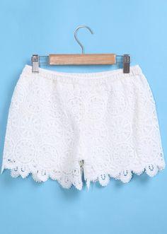 Elastic Waist Lace Crochet Shorts. Fashion : Bottoms : Pants Elastic Waist Lace Crochet Shorts - See more at: http://spenditonthis.com/listing-40774-elastic-waist-lace-crochet-shorts.html#sthash.Rv38IJdM.dpuf
