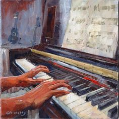 Original Painting Piano Musician's Hands Keyboard and Sheet Music by Elo Wobig F. - Original Painting Piano Musician's Hands Keyboard and Sheet Music by Elo Wobig Fine Art Acrylic 8 - The Piano, Piano Art, Piano Music, Your Paintings, Original Paintings, Geek House, Arte Peculiar, Painted Pianos, Partition