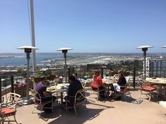 Outdoor dining at Mr. A's on the 12th floor. San Diego, CA.