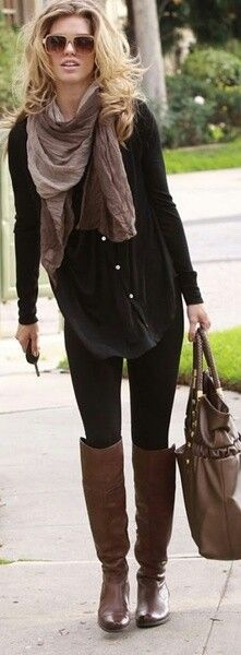 Perfect fall outfit,  black with high boots and scarf