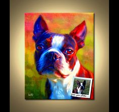 Boston Terrier Print Dog Art Print by ScottieInspired Boston Terriers, Boston Terrier Kunst, Custom Dog Portraits, Pet Portraits, Portrait Paintings, Digital Portrait, Digital Art, Stretched Canvas Prints, Pets