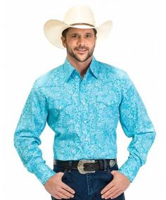 This is the shirts for the Guys ......... Drysdales Turquoise and White Paisley Long Sleeve Shirt with Pearl Snaps - Western Shirts - Shirts - Men's