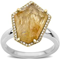 Lord & Taylor Rutilated Quartz And Diamond-Accented Ring In Sterling... ($1,000) ❤ liked on Polyvore