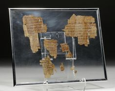 Buy online, view images and see past prices for 8 Egyptian Papyrus Fragments - Greek and Demotic Script. Invaluable is the world's largest marketplace for art, antiques, and collectibles. Religious Text, Greek Language, Rosetta Stone, Custom Framing, Egyptian, Script, Roman, Auction, Clay